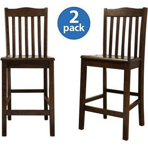 counter height dining chairs 2 set wood slat back dinner