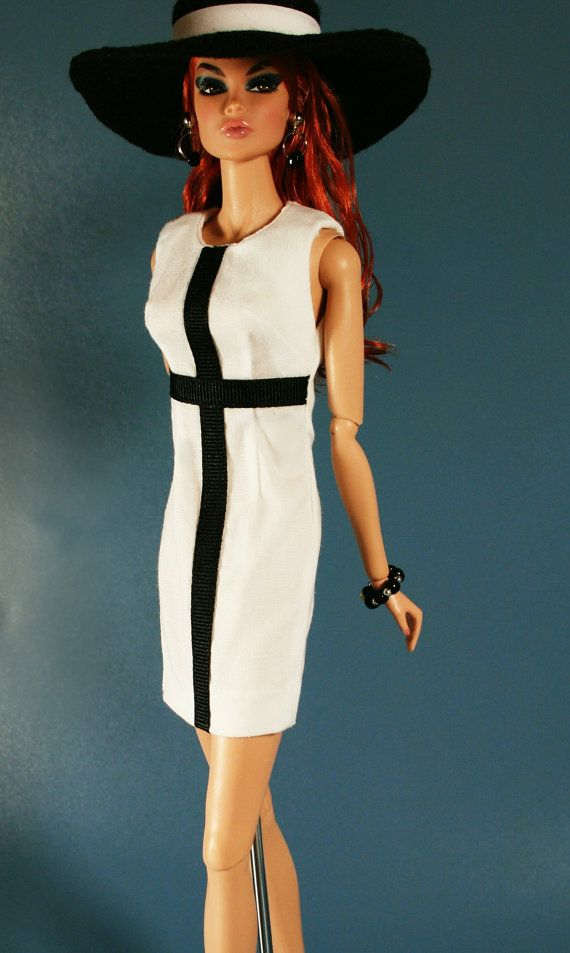 60's Style Dress with Hat in Black and White by ChicBarbieDesigns, $16.99