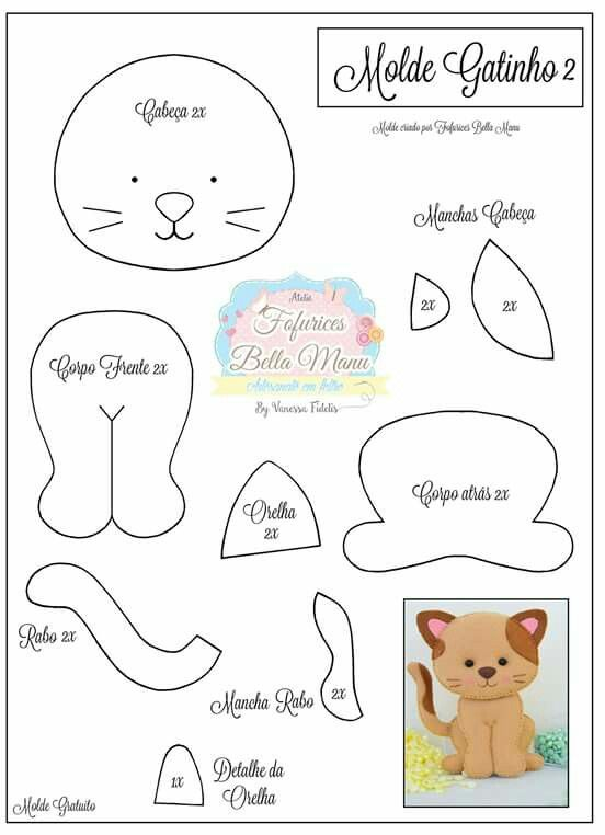 molde de gatito en fieltro | moldes en fieltro | Pinterest | Fieltro ...