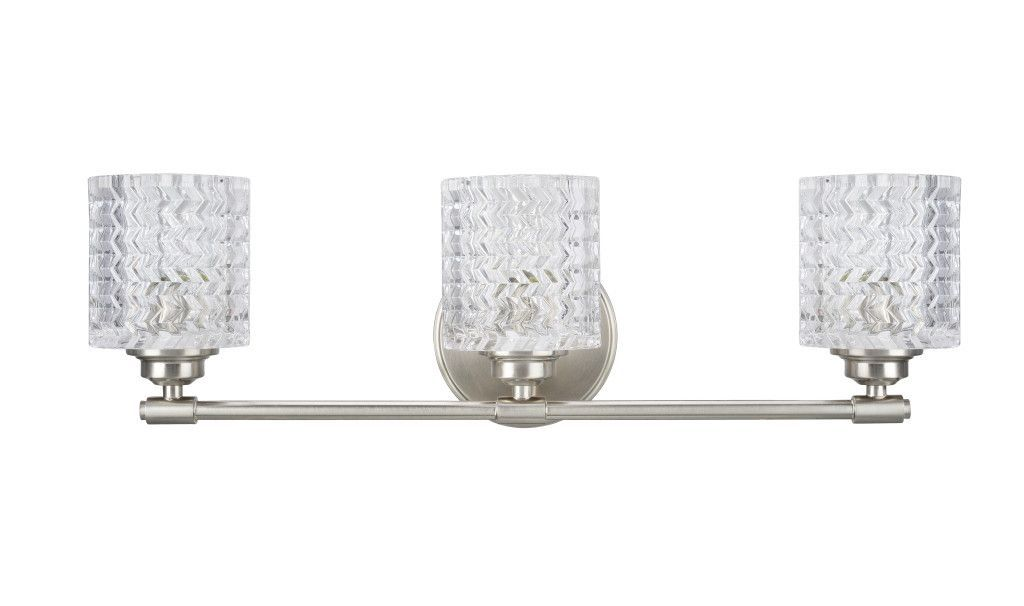 """# 62058 3 Light Metal Bathroom Vanity Wall Light Fixture, 24"""" Wide, Transitional Design, in a Brushed Nickel with Clear Glass"""