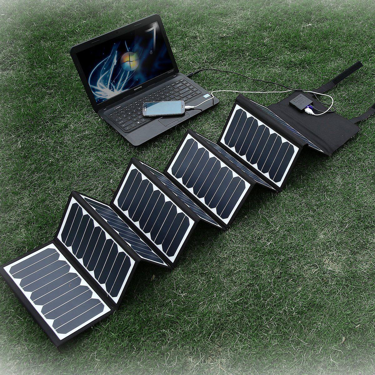 Poweradd High Efficient 60w Foldable Solar Panel Portable Solar Charger Usb Port 5v 2a Dc Output 18v 2 2a Ma Solar Panel Charger Solar Panels Solar Charger