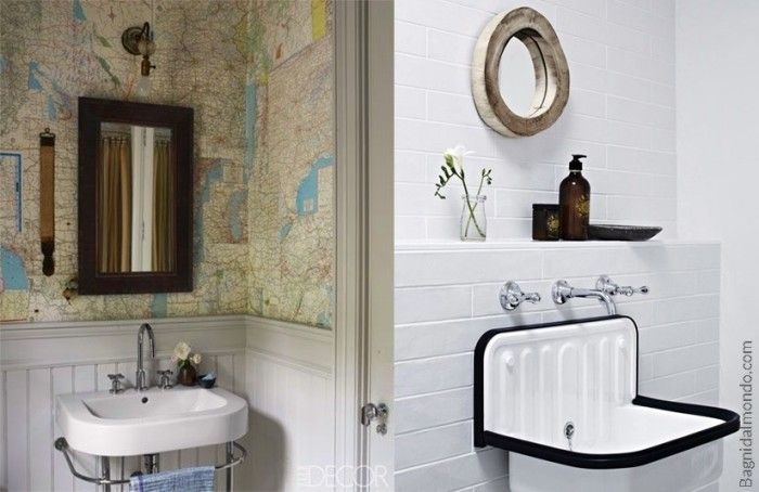 Rivestimenti per il bagno carta da parati o piastrelle stile