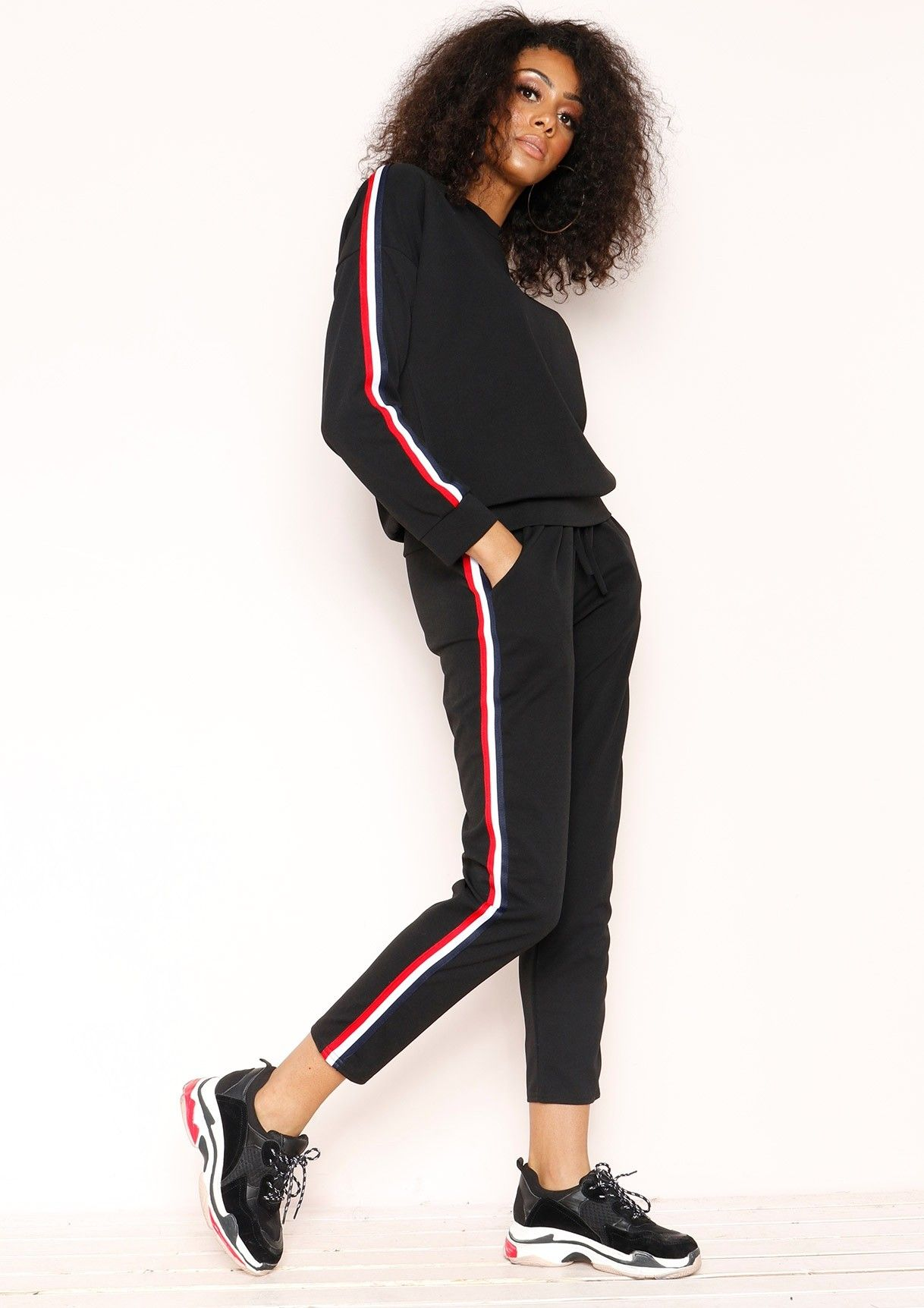 6a4d5e904c Missyempire - Stella Black Striped Jumper Loungewear Set