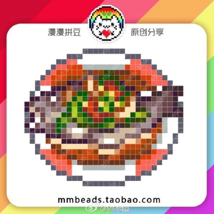 #我爱拼豆# 画完西餐画中餐,从来没有一个题材有如此好兴致!除了吃的还是吃的……感觉自己吃货的身份是隐藏不住了····