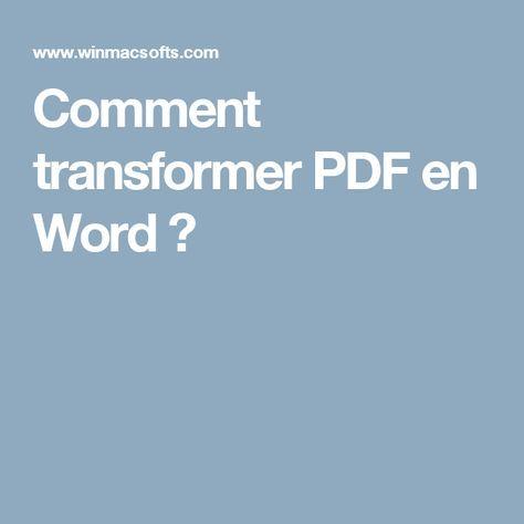 Comment transformer PDF en Word ? documents Pinterest