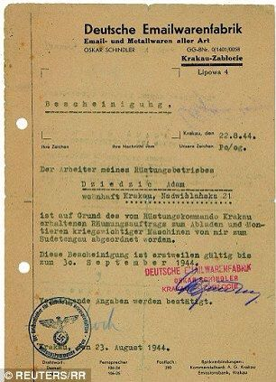 Letter from Oskar Schindler asking for permission to move his - permission letter