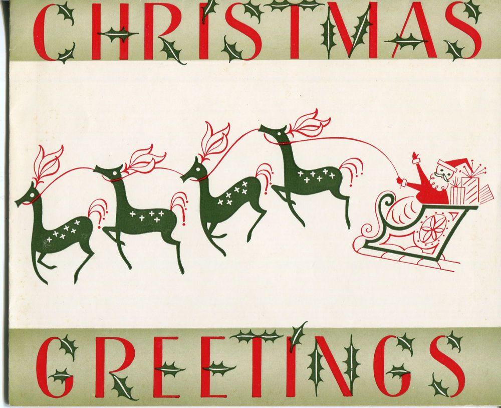 Vintage Burgoyne Christmas Card: Santa Claus with His Sleigh ...