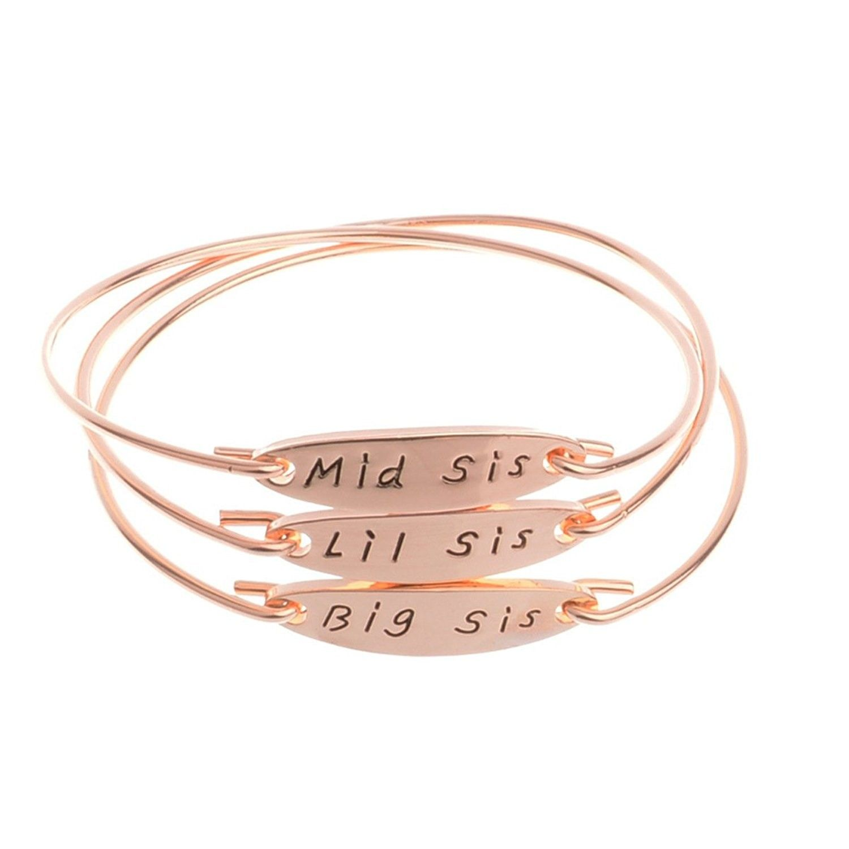 Middle little bracelets jewelry sisters pcs golden bigumiddle