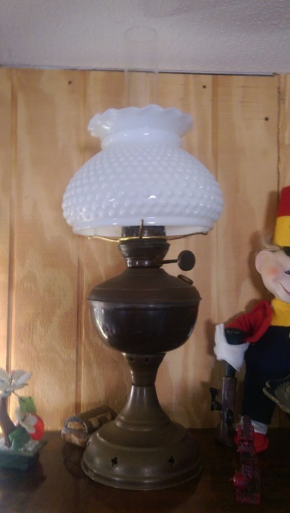 Hobnail Glass and Brass Vintage Lamp With Shade
