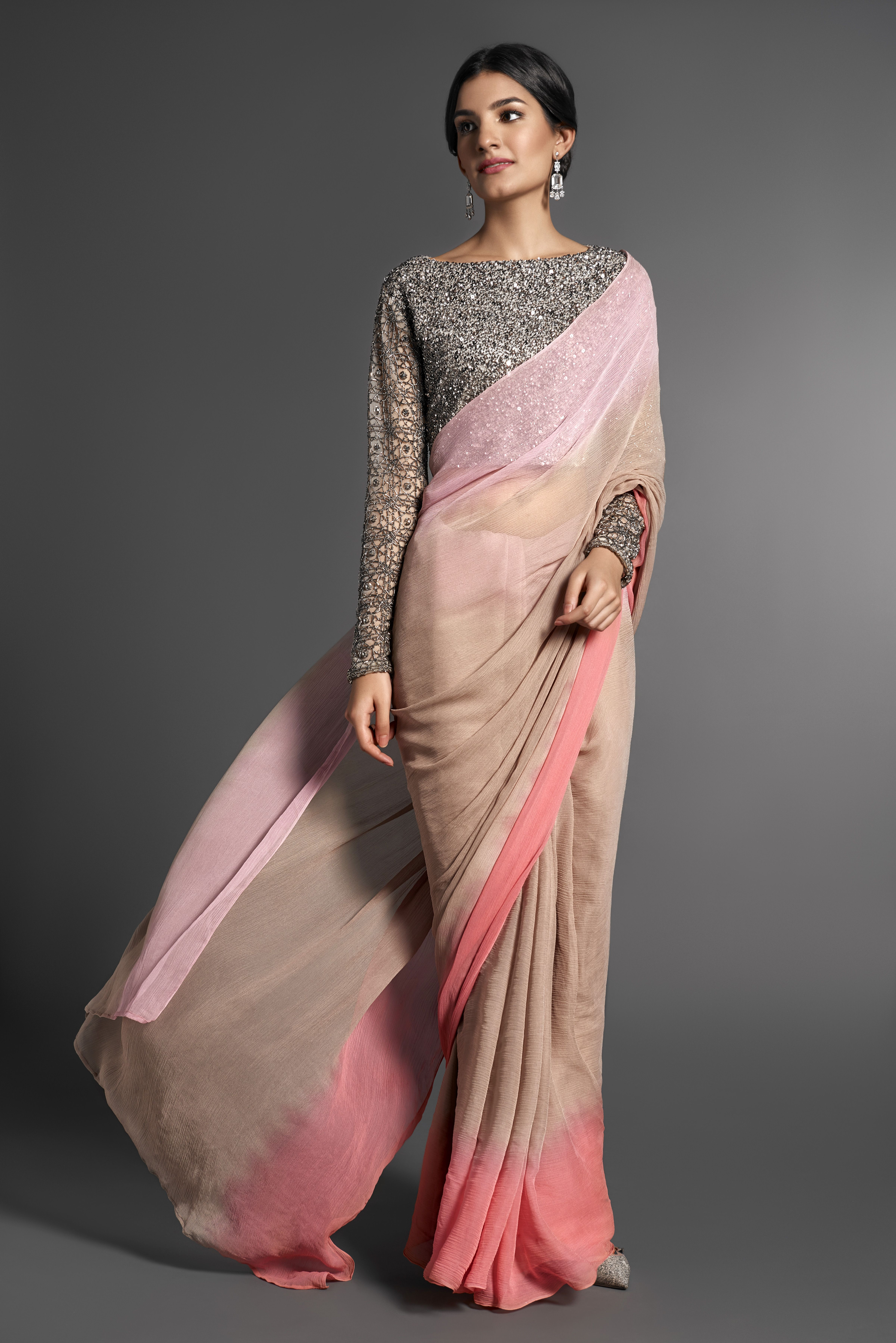 Shaded chiffon sari with a beaded blouse designed by ...