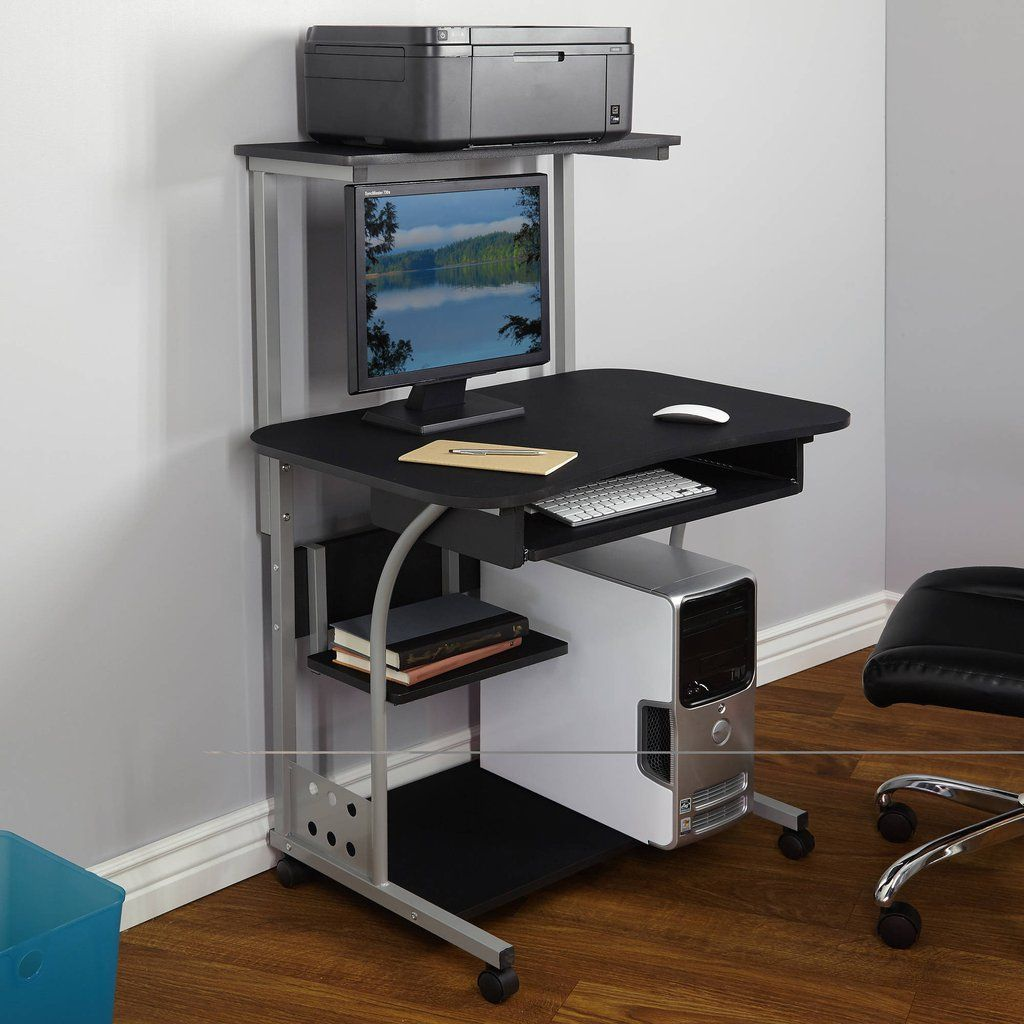 Small Compact Mobile Portable Computer Tower With Shelf Desk Wheels