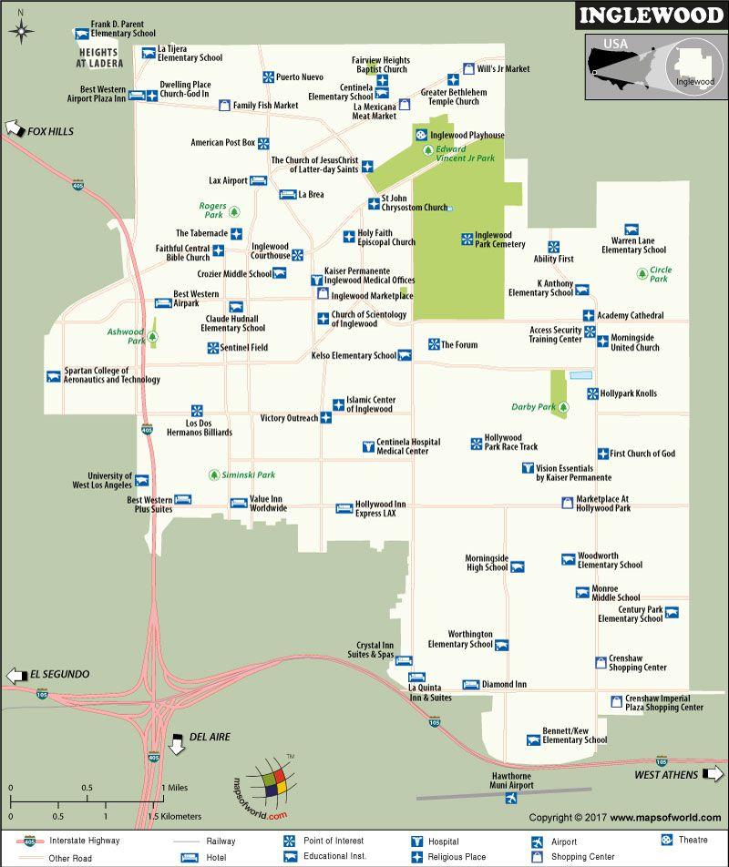 Inglewood City Map California California Maps Pinterest - Inglewood map