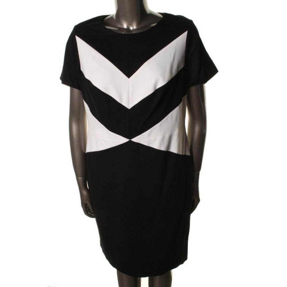 Vince Camuto Womens Plus Colorblock Knee-Length Wear to Work Dress