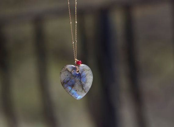 Labradorite heart pendant necklace labradorite by NadeanDesigns