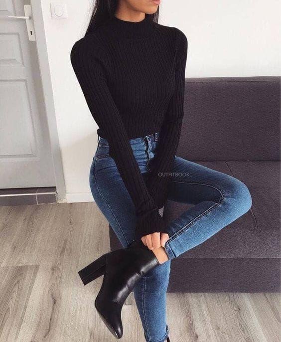 10 outfits elegantes con jeans perfectos para ir a