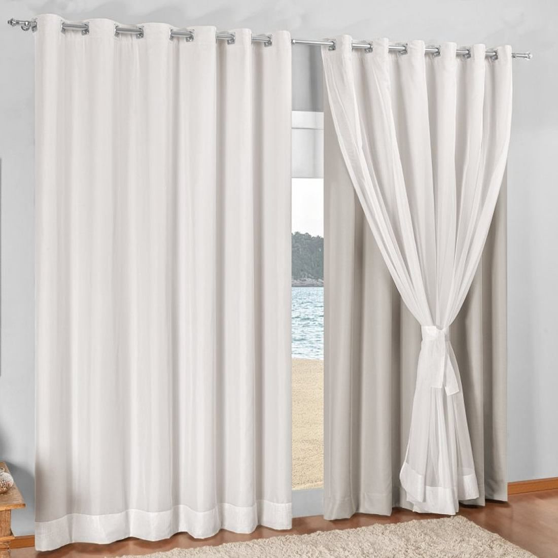 Cortina Blackout Com Voil Curtains Pinterest Cortinas  -> Argollas Para Cortinas Sala