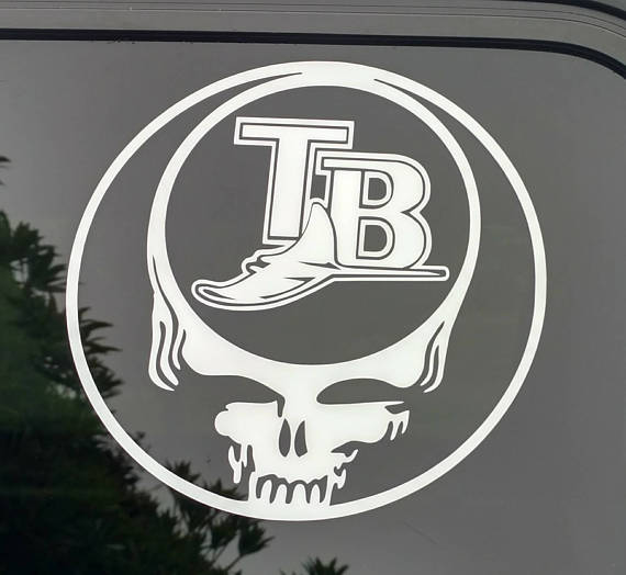 Grateful dead florida devil rays decal tampa bay die cut vinyl sticker baseball stealie steal your face team music vintage retro logo decal