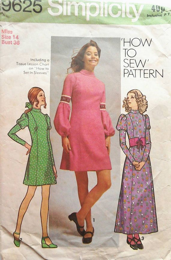70s simplicity tunic dress short dress maxi dress sewing patterns simplicity 9625 bust 36. Black Bedroom Furniture Sets. Home Design Ideas