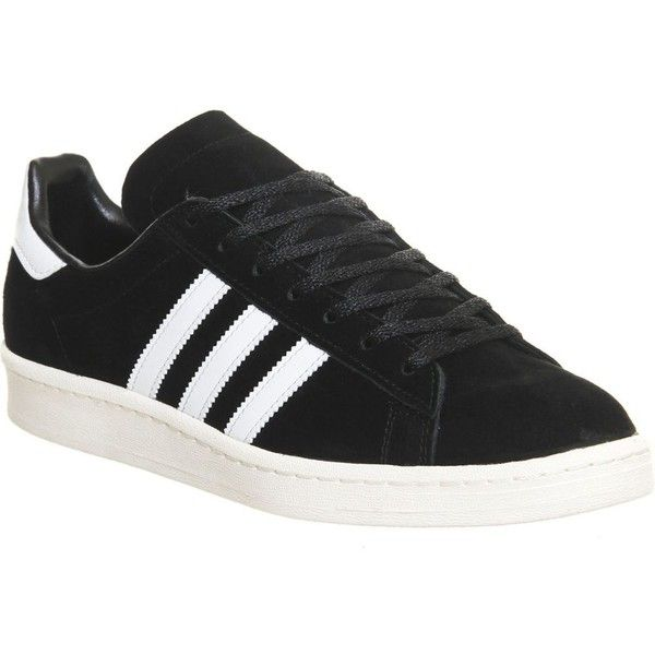 separation shoes 90b33 05c24 ADIDAS Campus 80 s suede trainers ( 100) ❤ liked on Polyvore featuring shoes,  sneakers, core black white, adidas sneakers, adidas, lace up sneakers, 80s  ...