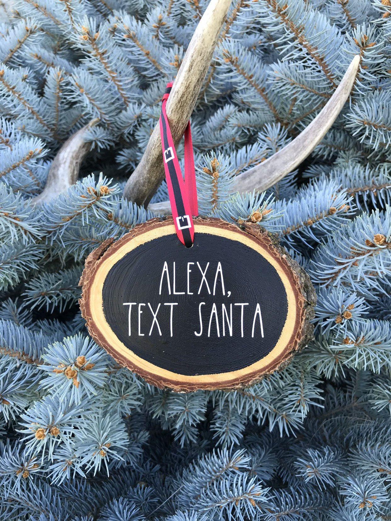 Wood Slice Christmas Ornament Alexa Humor Wooden Slice Etsy Christmas Ornaments Wood Slices Handmade Christmas Ornaments