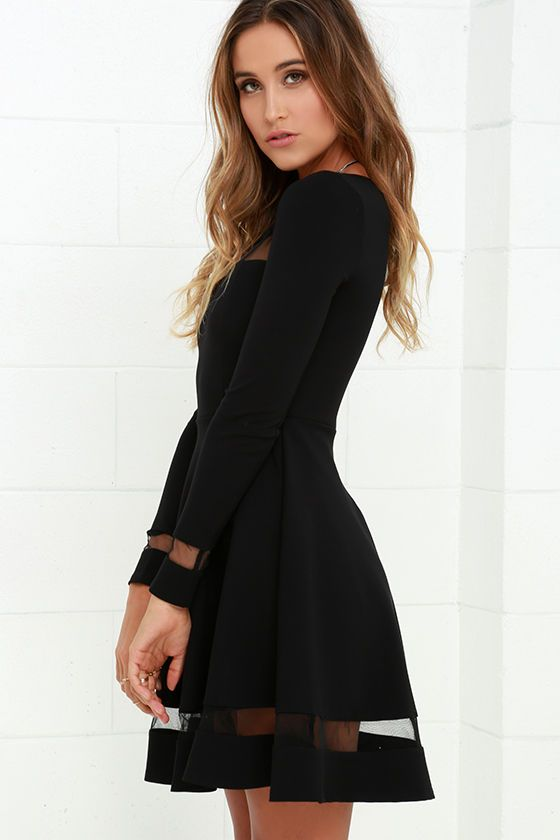 35029e7cf8cf Sheer Leader Black Mesh Skater Dress at Lulus.com!