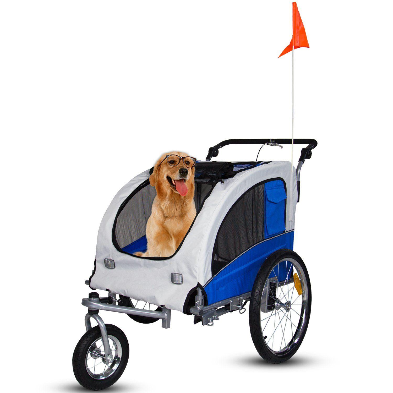 Kinbor Pet Bicycle Trailer Dog Carrier Biking with dog
