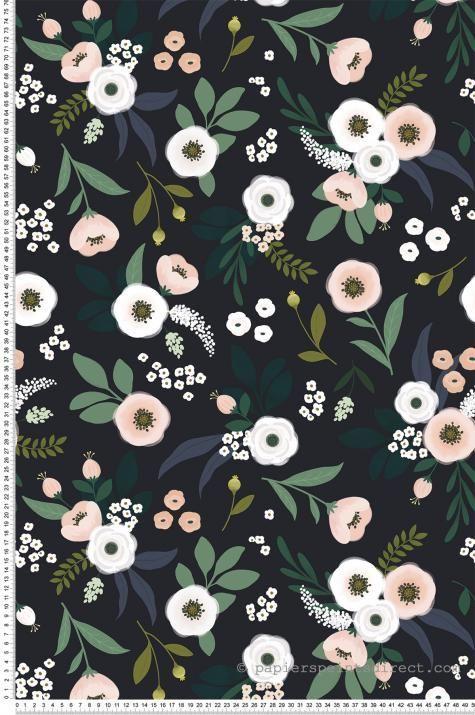 Papier peint fleurs fond noir – Papier peint Lilipinso