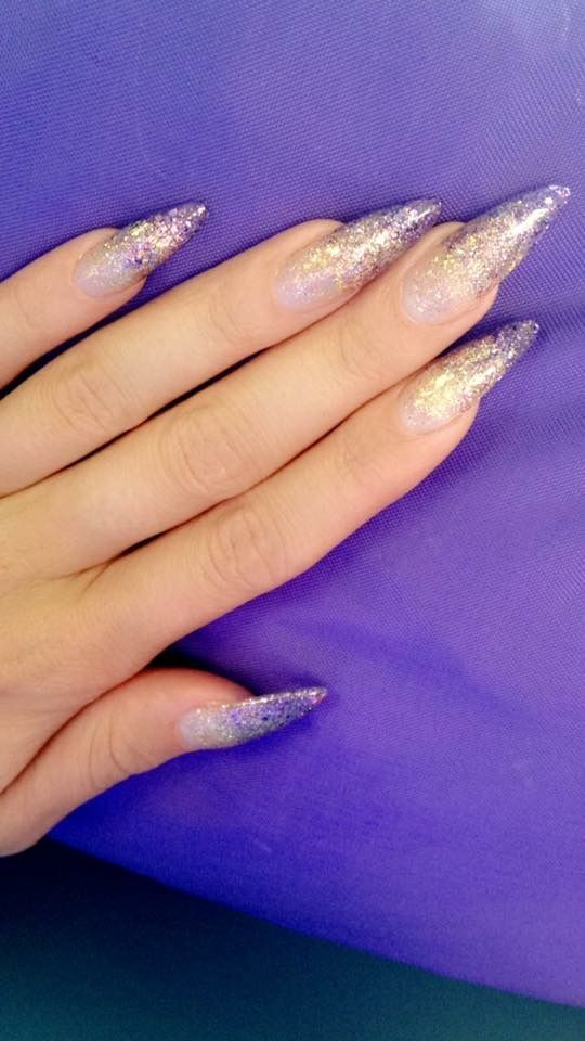 66 Acrylic Stiletto Matte Nail Design For Winter Spring Nails Purple Gold And Glitter