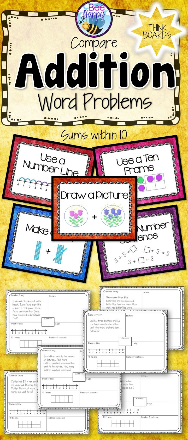 Addition Word Problems Compare Think Boards And Posters Sums Within 10 Addition Word Problems Addition Words Word Problems Addition word problems 10