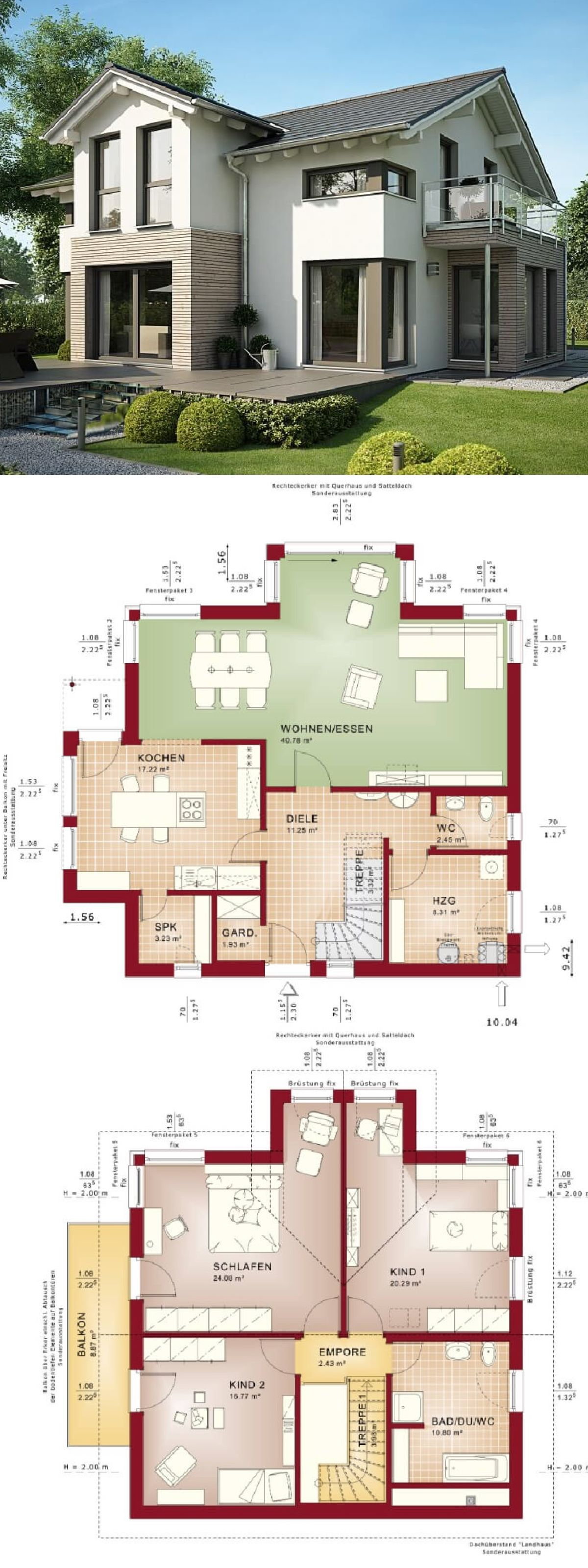 Satteldach Haus Modern Mit Quergiebel U0026 Holz / Putz Fassade   Einfamilienhaus  Bauen Grundriss Fertighaus Evolution