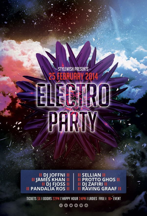 Electro Party Flyer By Stylewish Psd Template  Party Posters