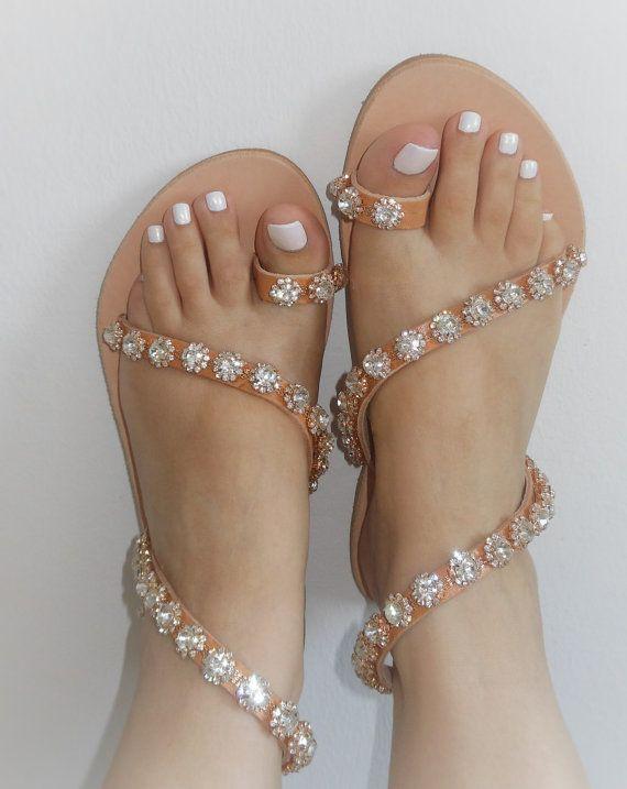 PRINCESS BRIDAL Flat Sandals Crystals Romantic Sandals