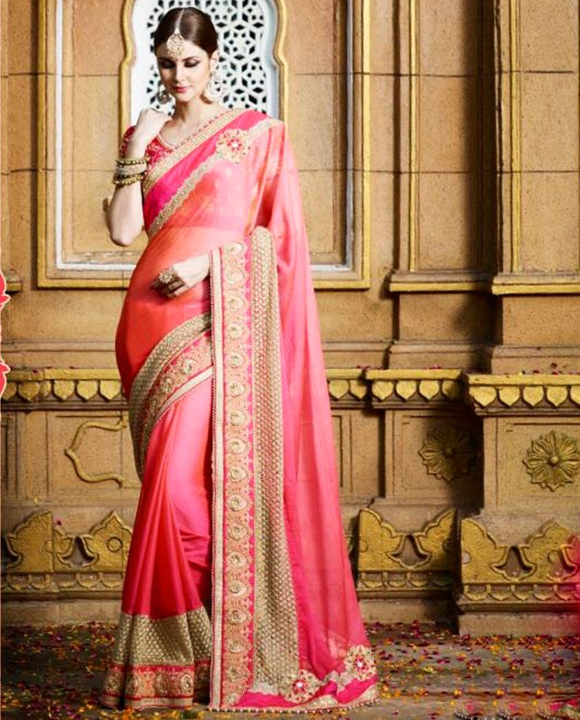 8a6f89dc40 Peach Pink crepe chiffon sari with heavy lace border 2. Double shaded with  brasso zari net, stones, moti and stones work 3. Comes with a matching  unstitched ...