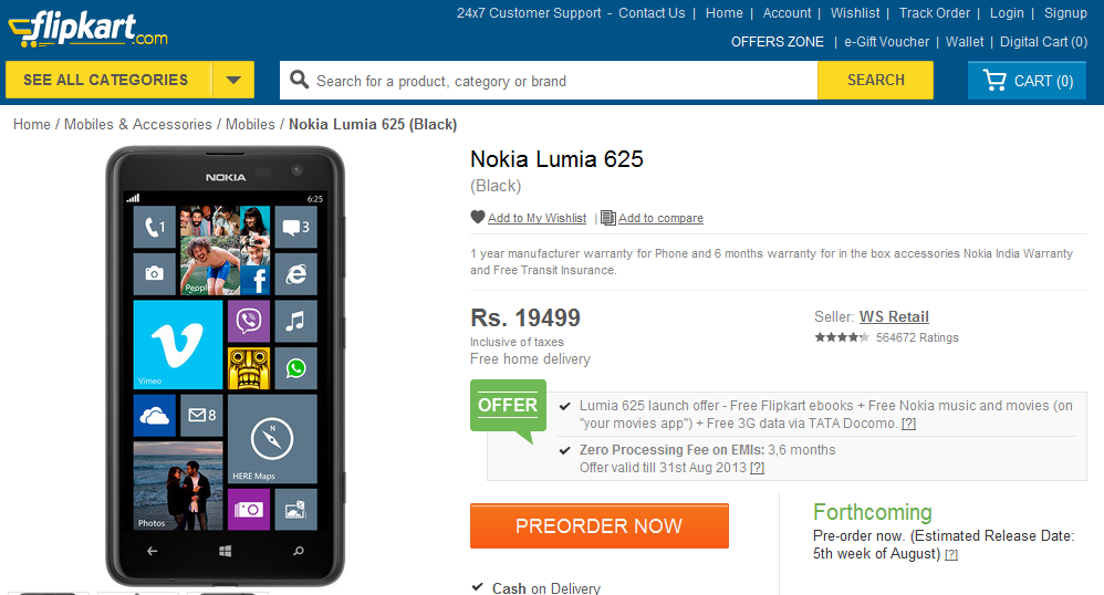 NOKIANEWS - Nokia Lumia 625 now available in India - Flipkart