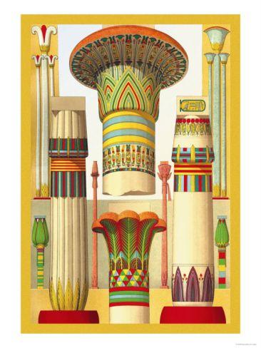 Egyptian Columns Premium Poster by Racinet at Art.com