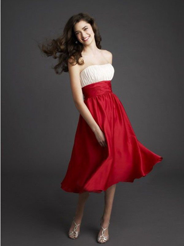 White and Red Bridesmaid Dress----Strapless A-line Silhouette ...