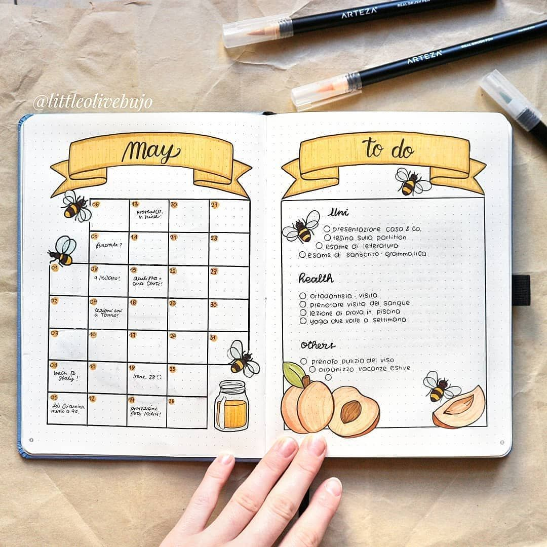 16 Bee & Honeycomb Themed Bullet Journal Layout Ideas #bulletjournalideas