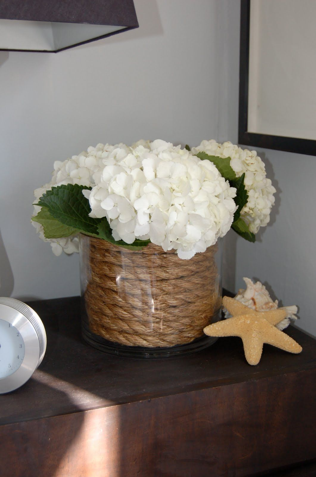 Nautical floral arrangement with hydrangeas