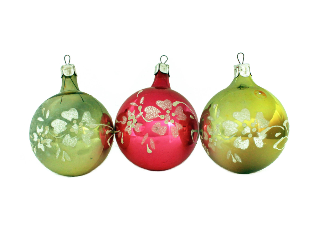 Soviet Christmas Ornaments Yellow Pink Ornaments Glitter Frosting Flowers Ornaments Ornament Set Vintage Glass Decorations Christmas Ornaments Pink Ornament Christmas Ornament Sets