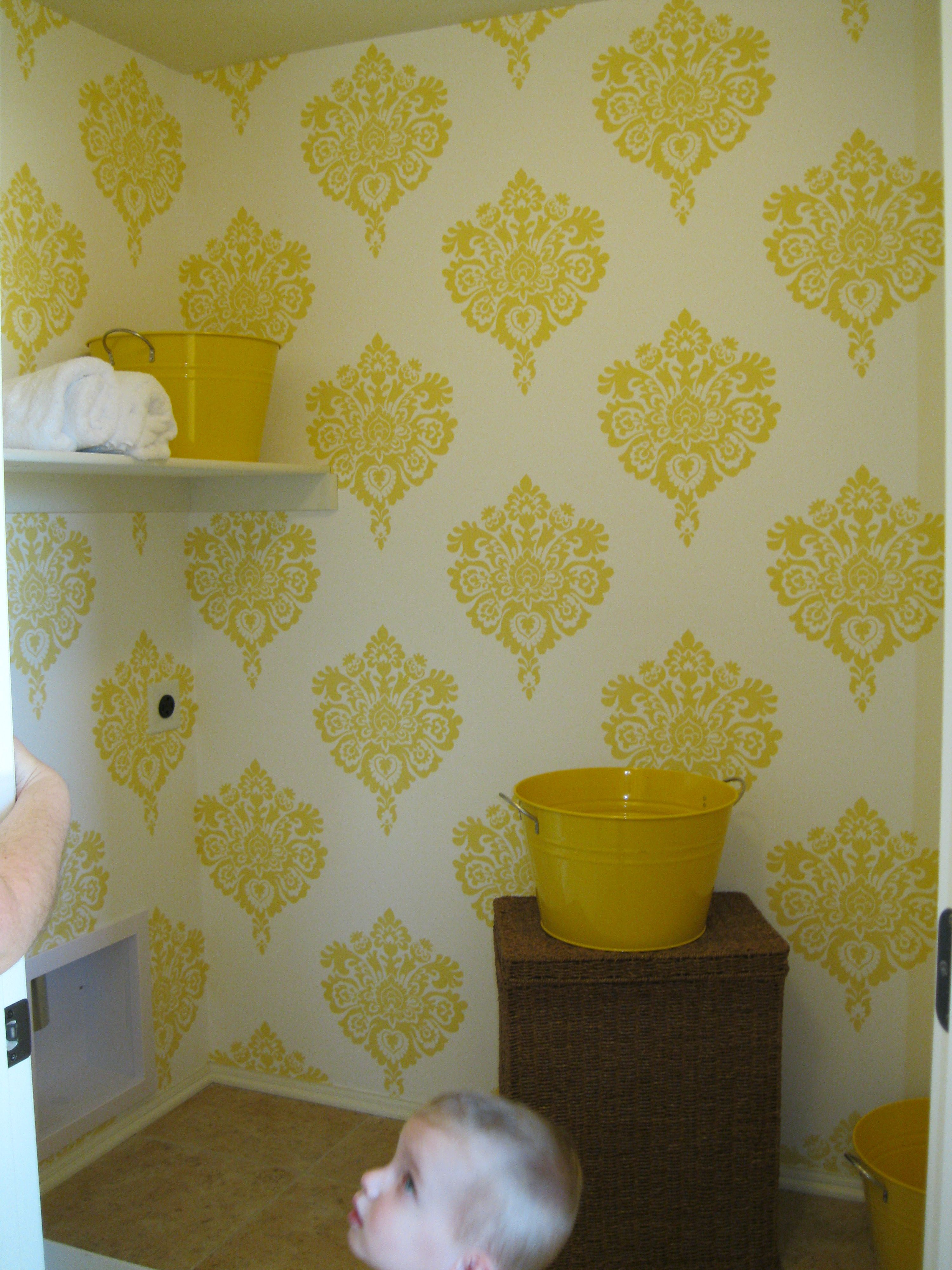 Fun stencil for the laundry room wall! With gray cabinet | Laundry ...