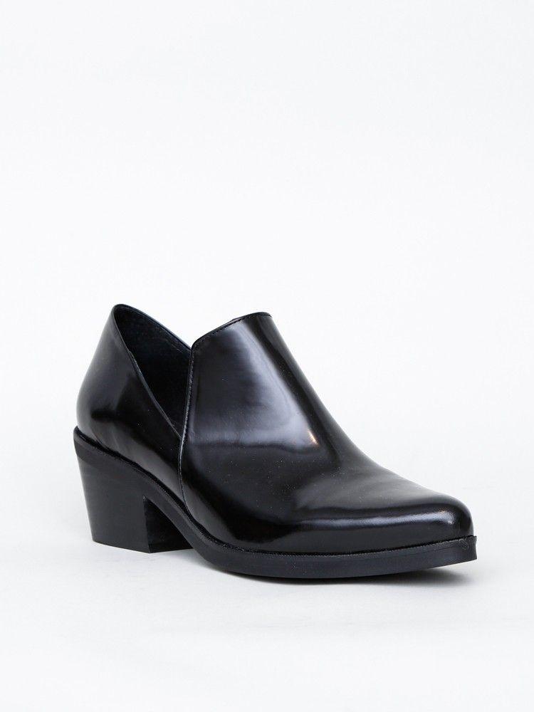 Manhattan Womens Ladies Leather Wedge Shoes Black