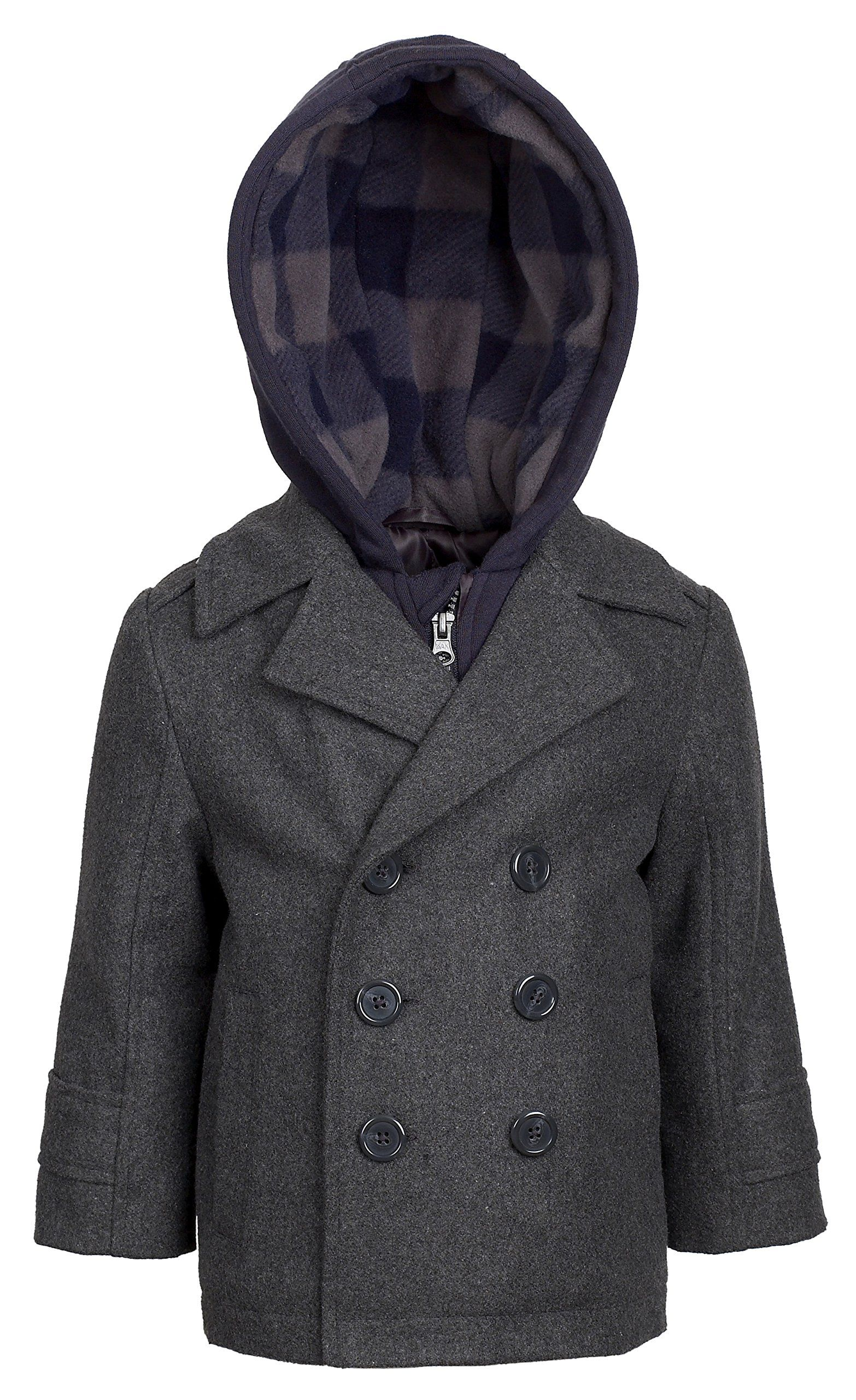 c0cdfc506 London Fog Boys Double Breasted Wool Blend Hooded Winter Peacoat ...