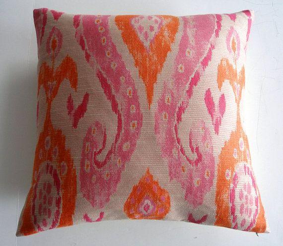 Raspberry Pink Orange Taupe Ikat Throw Pillow Cover 20 X 20