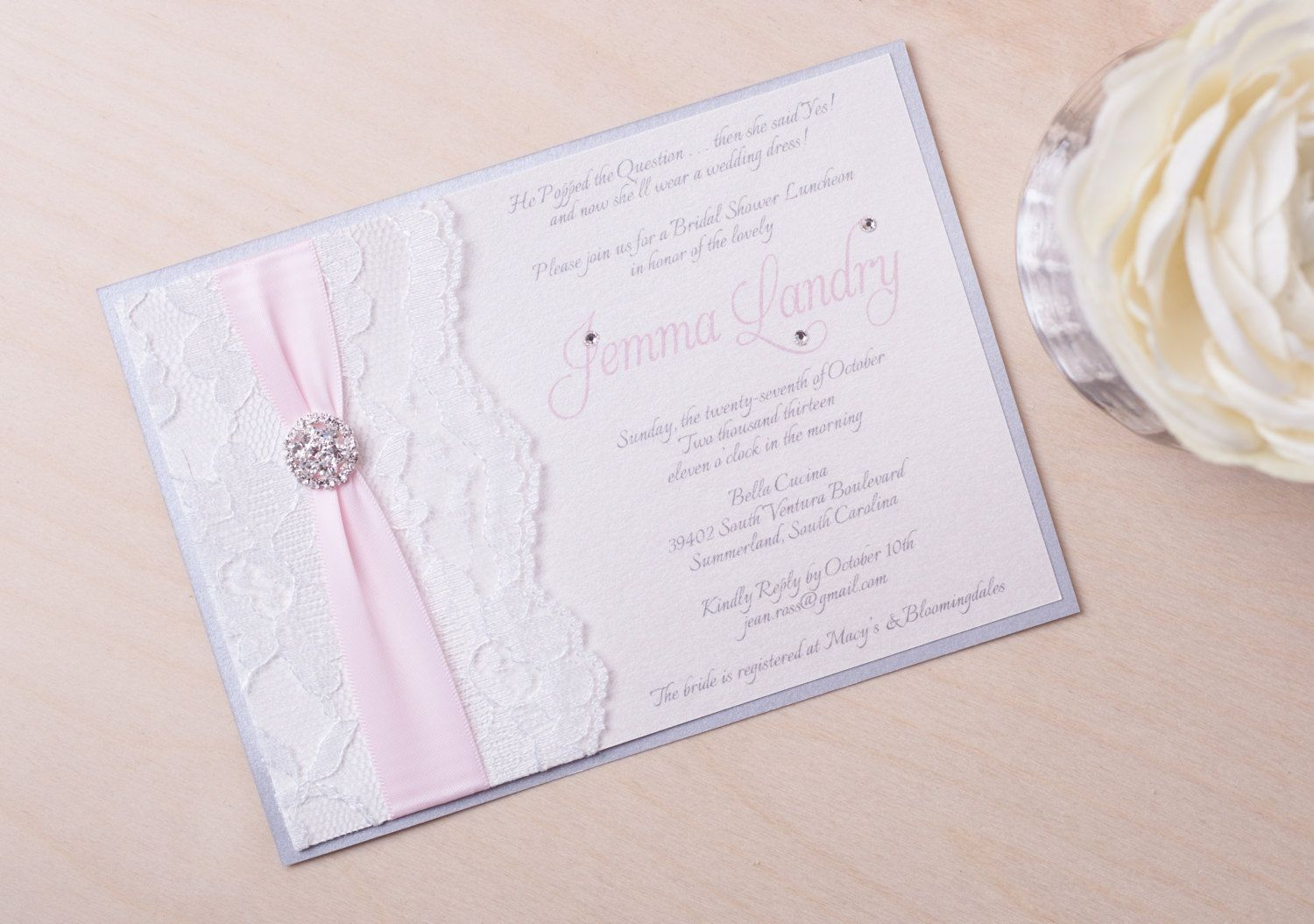 JEMMA  Lace Bridal Shower Invitation  Wedding by peachykeenevents