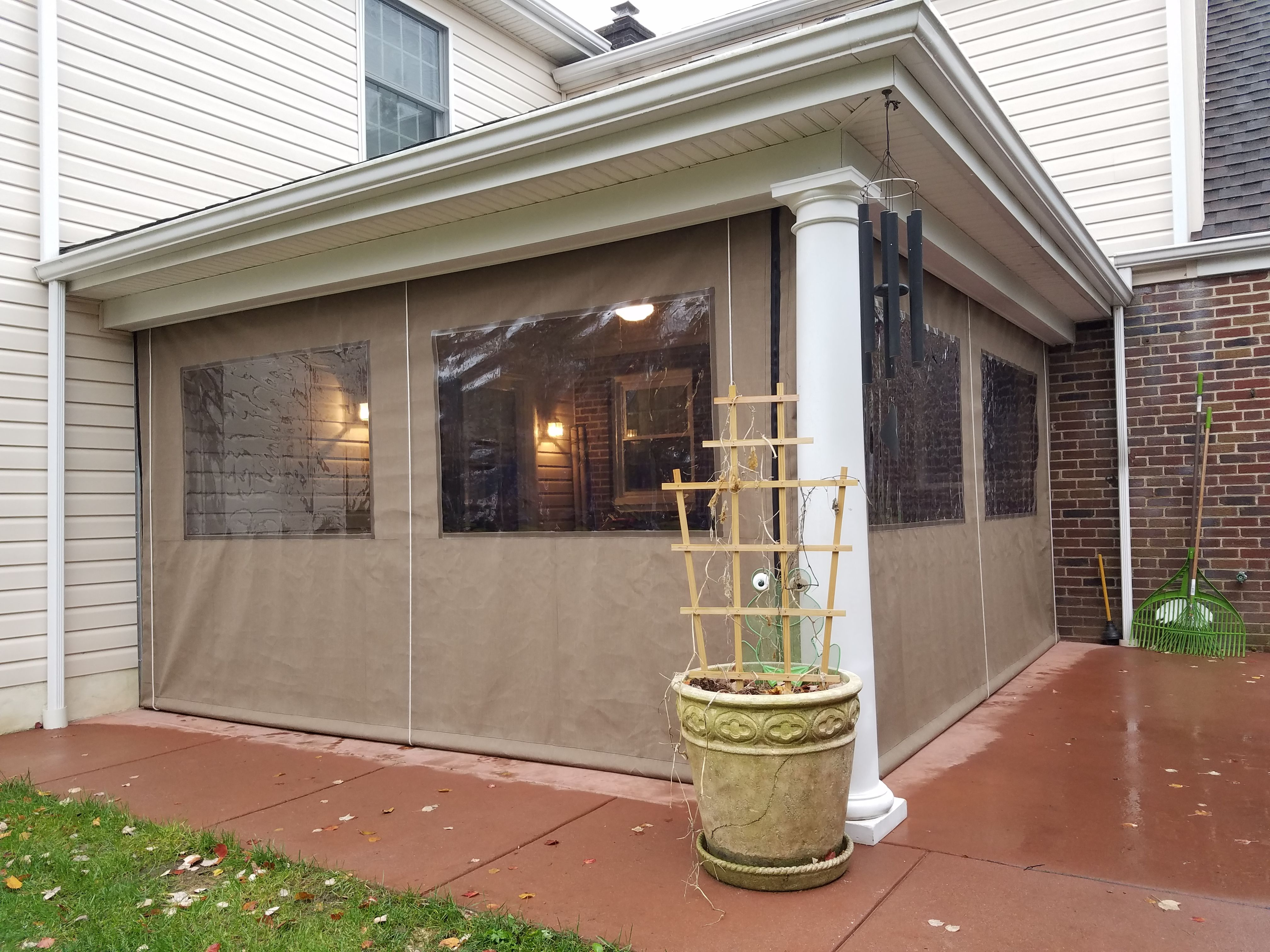 Vinyl patio curtains - Enjoy Your Porch Year Round By Installing Clear Vinyl Drop Curtains The Curtains Can Store In The Up Position When Not In Use