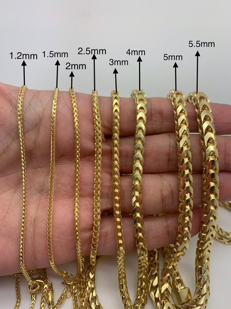 925 Silver 14k Gold Plated Square Box Franco Chain 1 2mm 1 5mm Etsy In 2021 Chains For Men Gold Chains For Men Gold Chain Design