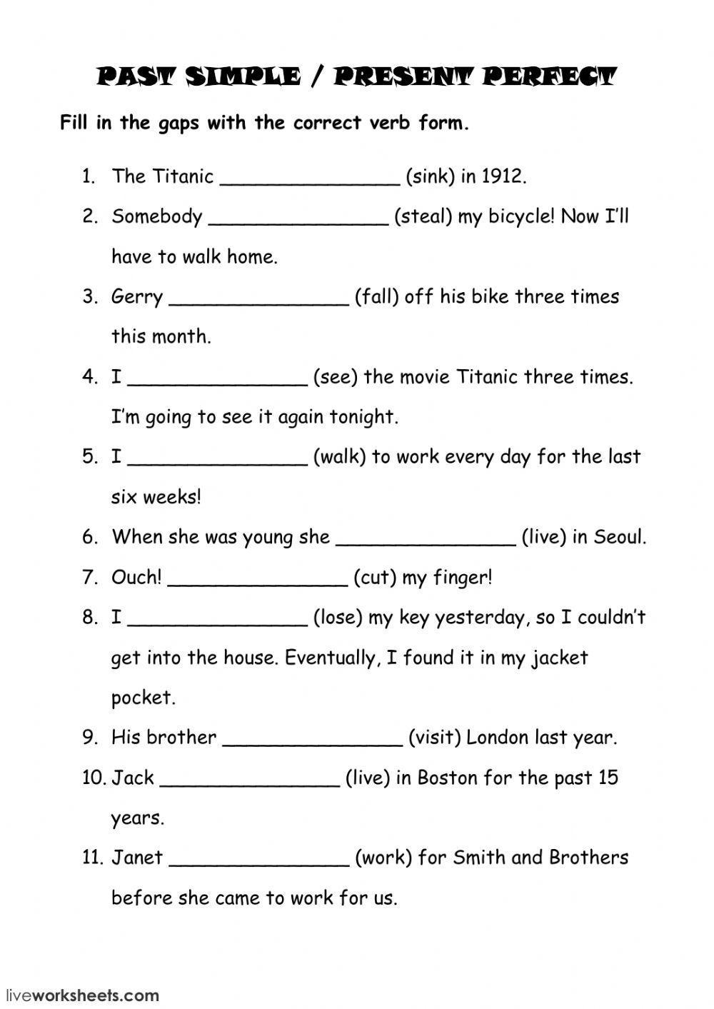Simple Past or Present Perfect Interactive worksheet