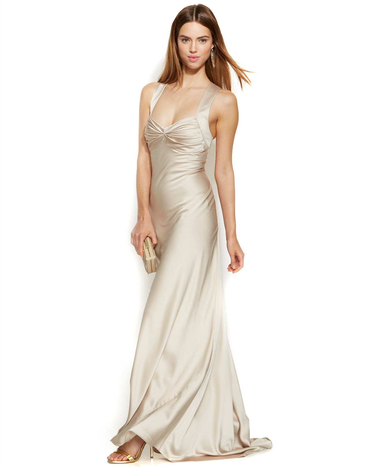 Calvin Klein Wedding Gowns: Calvin Klein Sleeveless Satin Sweetheart Gown