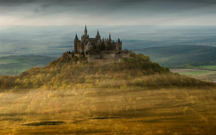 Herunterladen Hintergrundbild Die Burg Hohenzollern Berge Deutsche Wahrzeichen Europa Deutschland Landschafts Tapete Berge Europa