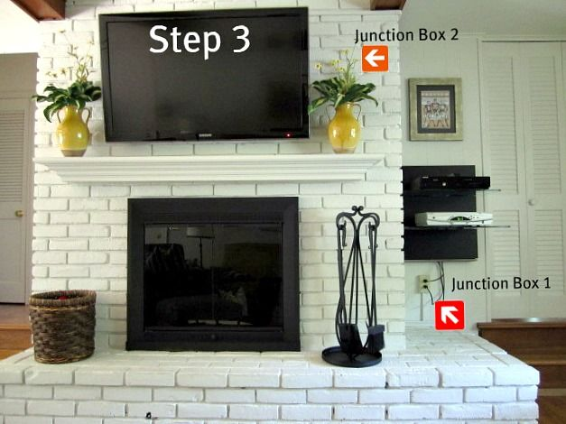 How To Mount A Tv On A Brick Fireplace Updated Brick Fireplace